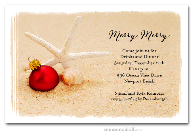 Starfish Beach Holiday Tropical Christmas Party Invitations