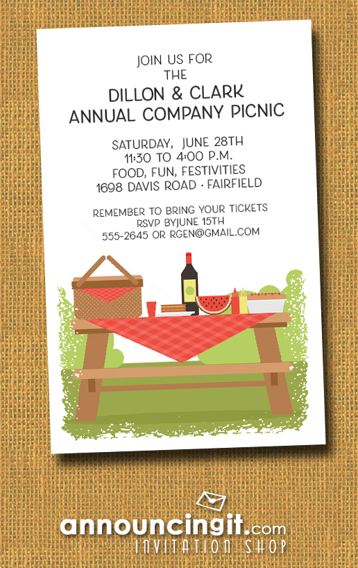 Picnic Table Summer Company Party Invitations at Announcingit