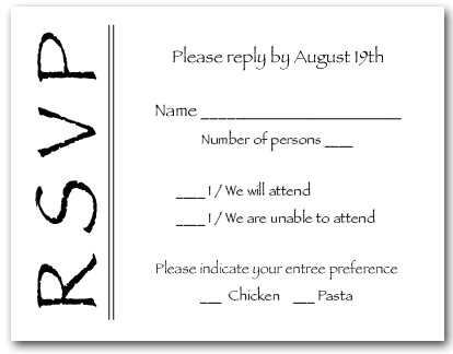 Black on White RSVP Cards, Reply Cards, Response Cards
