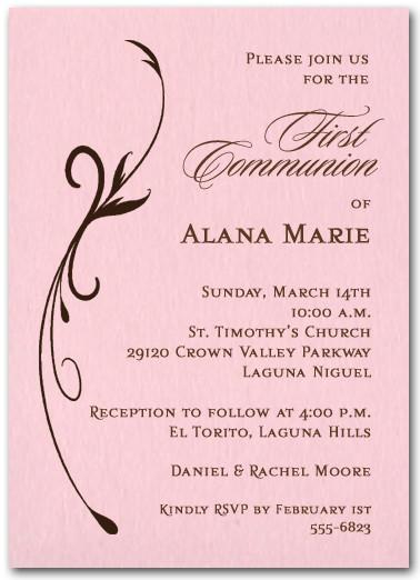 Flourish on Pink Girl Christening Invitations, Baptism Invitations