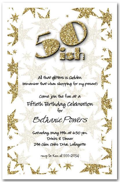 Gold Glitter Birthday Party Invitations, 50th Birthday Invitations