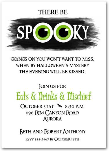 Green Eyes Spooky Halloween Party Invitations