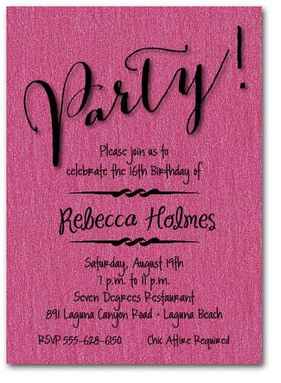 Shimmery Hot Pink Party Invitation, Surprise Birthday Invitation