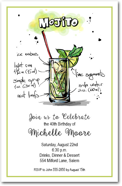 Mix Me a Mojito Cocktail Party Invitations - cocktail party invitations