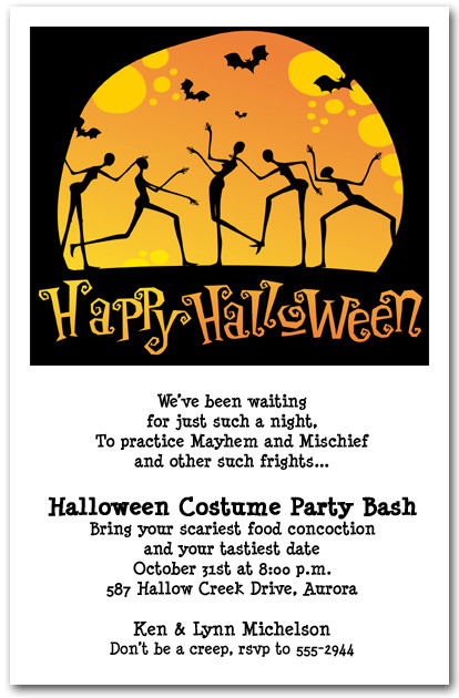 Moonlight Skeleton Dance Halloween Party Invitations