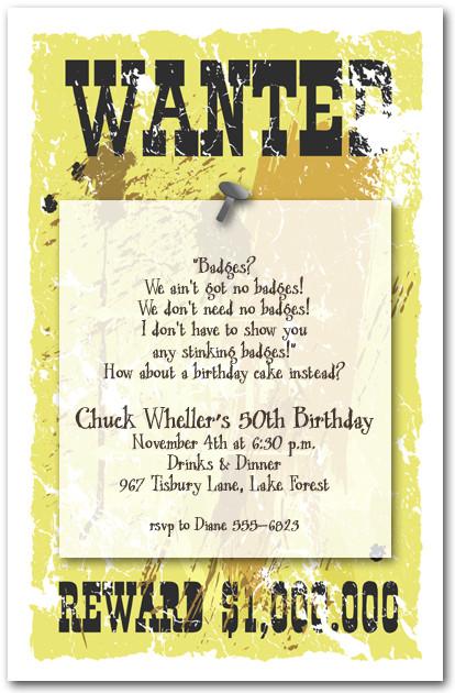 Sheriff\u0027s Wanted Poster Invitations, Western Invitations