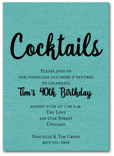 Shimmery Turquoise Cocktail Party Invitations