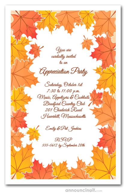 Tangerine Fall Leaves Invitations, Autumn Party Invitations