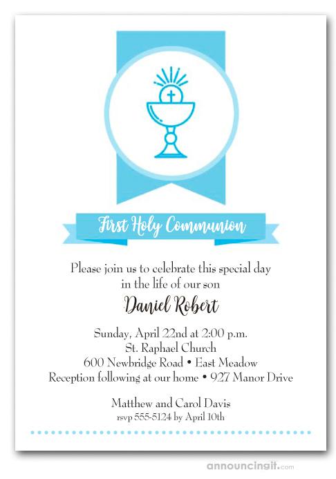 Blue Chalice Banner Boy\u0027s First Communion Invitations