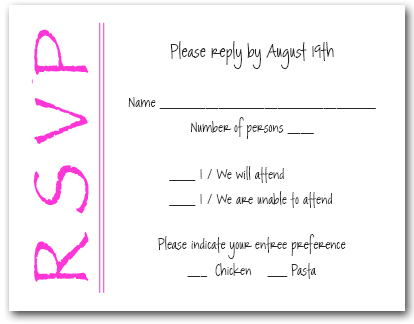 Bright Pink on White RSVP Cards, Reply Cards, Response Cards