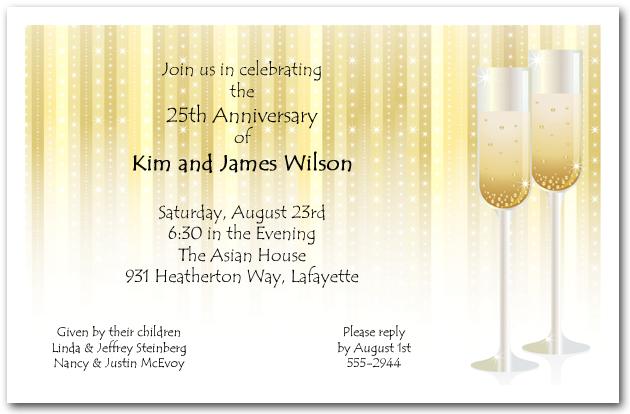 Champagne Glasses on Stars Anniversary Invitations
