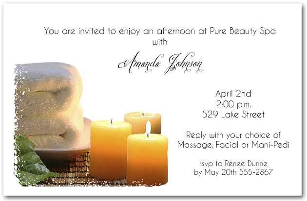 Pampering Spa Day Party Invitations - spa invitation