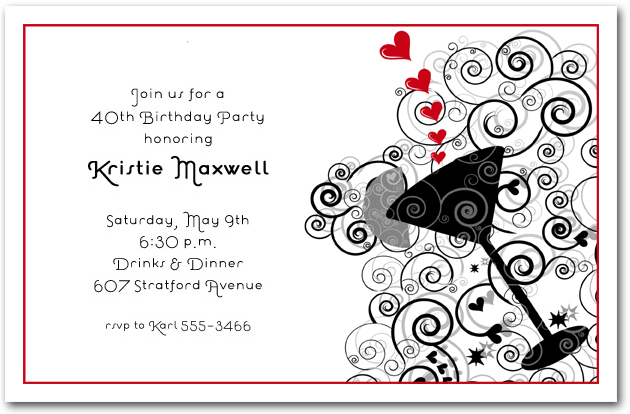 Red Hearts  Swirls Cocktail Invitations, Cocktail Party Invitations