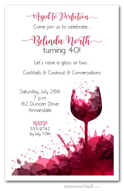 Fall Wallpaper Border Red Wine Glass Splash Party Invitations