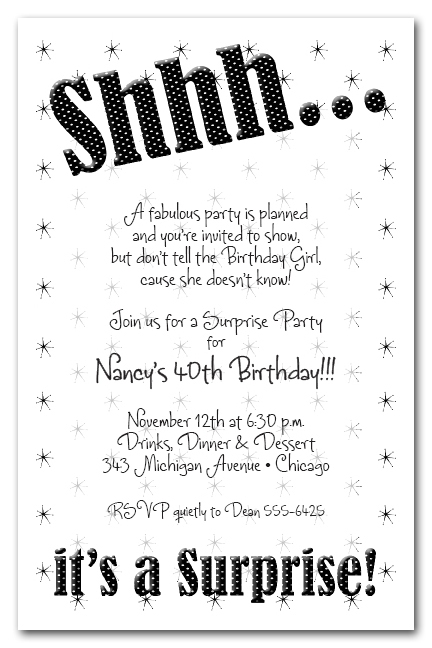 Shhh Black Polka Dot Surprise Party Invitations, Surprise Birthday