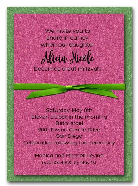 Shimmery Green and Hot Pink Layered Bat Mitzvah Invitations