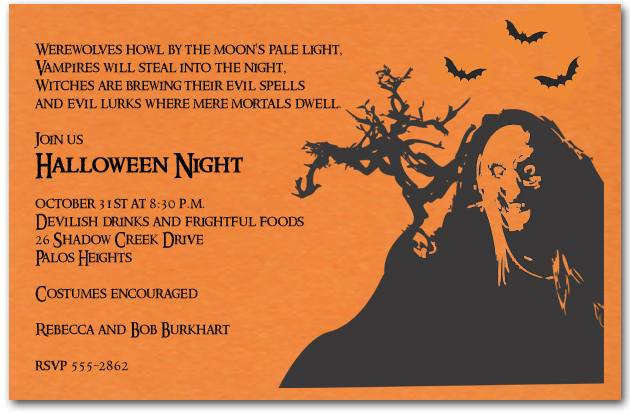 Spooky Witch Silhouette Halloween Invitations - halloween invitation