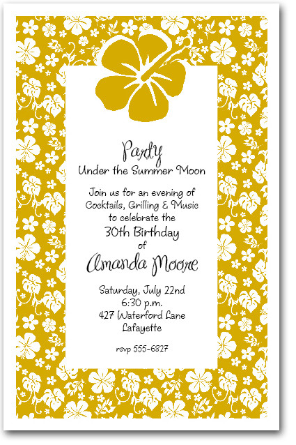 White Hibiscus on Gold Tropical Party Invitations