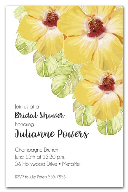 Yellow Hibiscus Tropical Party Invitations