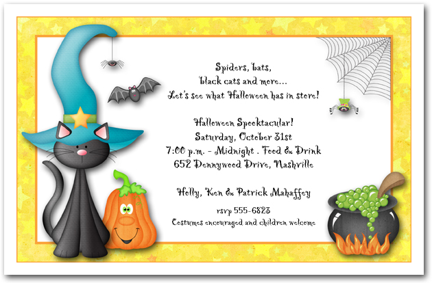 Teal Hat Black Cat Halloween Party Invitations
