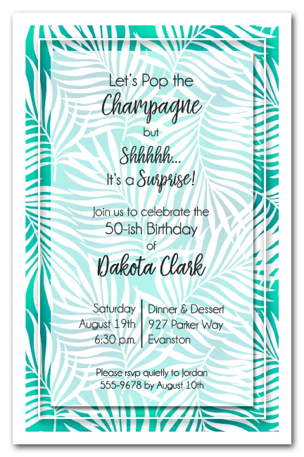 White Palms on Teal Tropical Theme Party Invitations