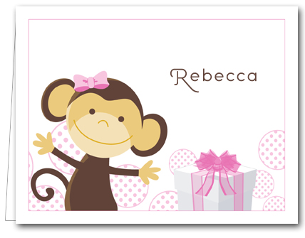 Monkey  Pink Gifts Note Cards, Kids Thank You Notes