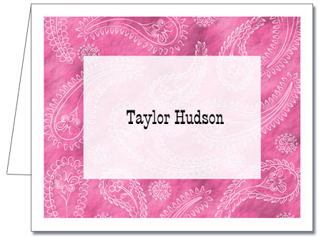 Personalized Note Cards Light Pink Paisley Thank You Notes