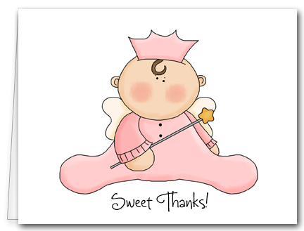 Note Cards Pink Angel Baby