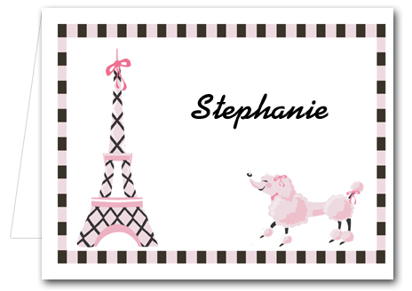 Pink Poodle in Paris Folded Note Cards  Thank You Notes