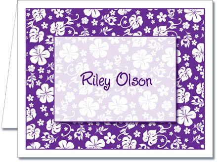 Note Cards Purple Hawaiian Floral Thank You Notes