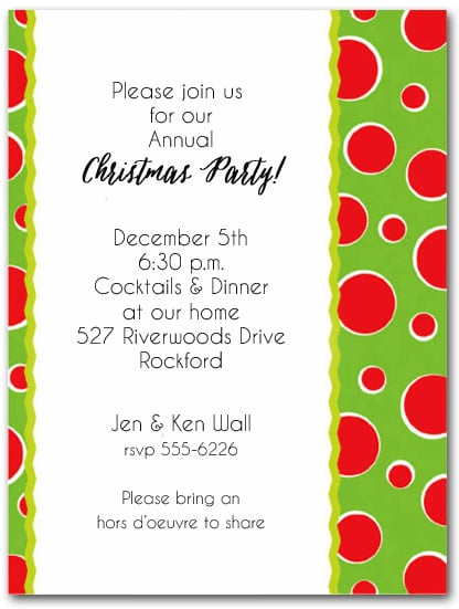 Red Dots on Green Holiday Christmas Party Invitations
