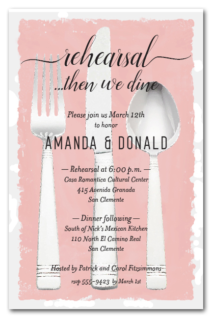 Flatware on Dusty Rose Wedding Rehearsal Dinner Party Invitations