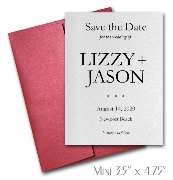 MINI Shimmery White Wedding Save the Date Cards with Red Envelopes
