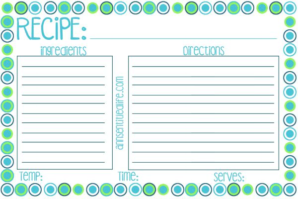 FREE Printable Recipe Card, Meal Planner and Kitchen Labels