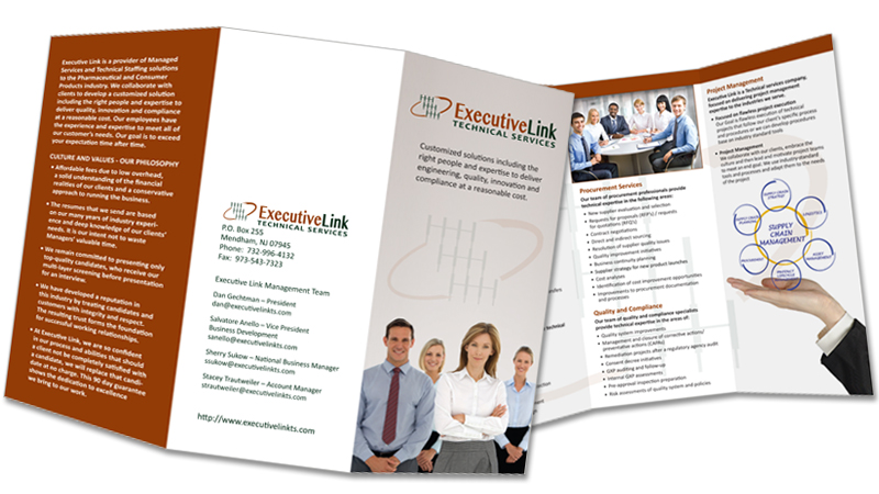 Executive Link Technical Services Trifold Brochure Answers Design