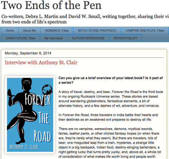 Two Ends of the Pen interview with author Anthony St. Clair