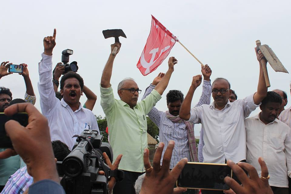 BV Raghavulu leading cultivation of Dalits' land at Devarapalli