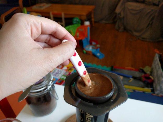 Stir coffee in Aeropress chamber