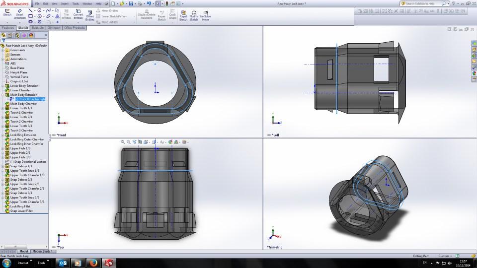 Renault 17TL Rear Hatch Lock Surround 3D sketch