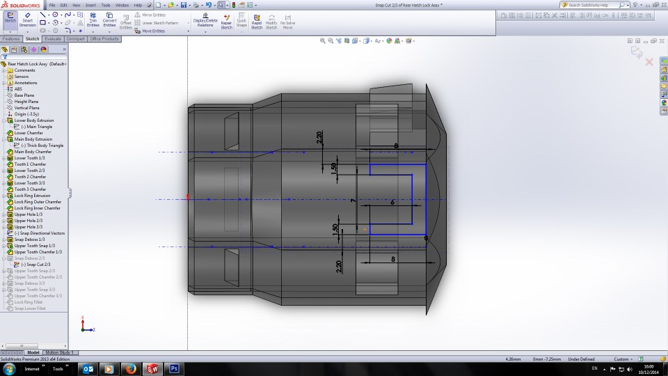 Renault 17TL Rear Hatch Lock Surround 3D sketch Ortho