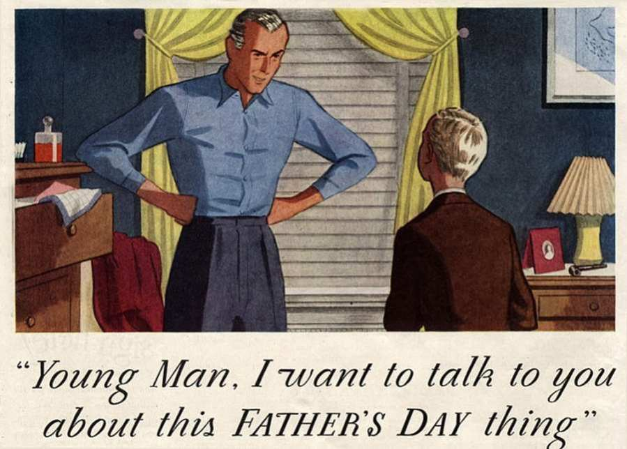 history of fathers day vintage ad