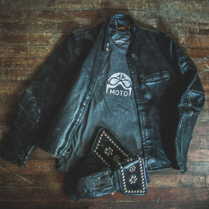 Vintage motorcycle leather jacket and gloves