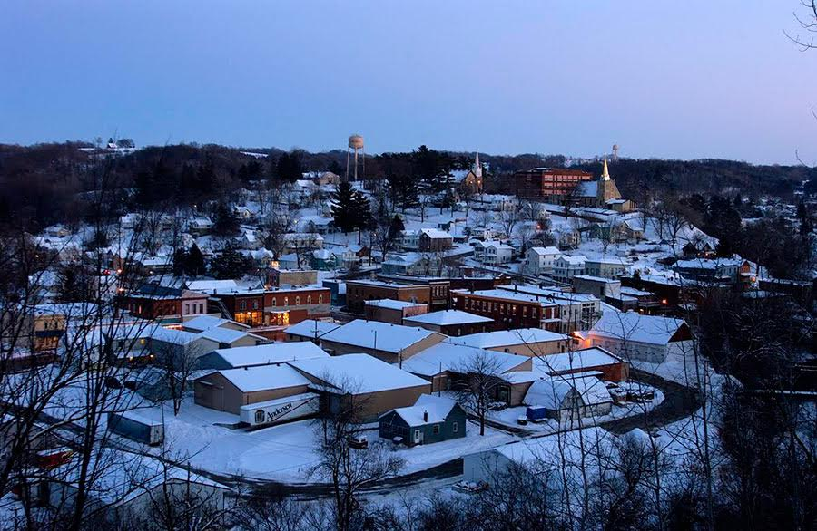 A snowy Lanesboro looking down from Inspiration Point. Photo via Lanesboro Area Chamber of Commerce