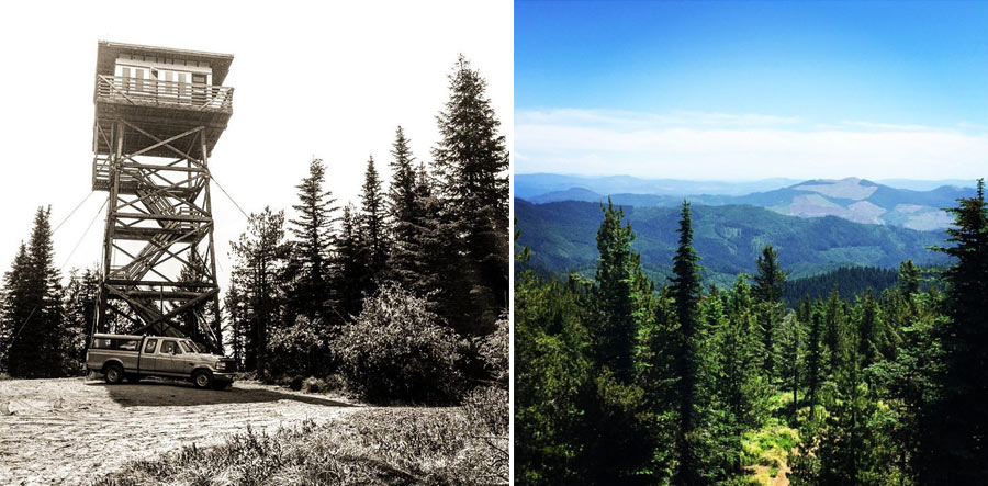 LEFT: Bald Mountain Lookout. Photo by @msm98908 RIGHT: