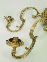 Pair Antique Brass Wall Lights / Sconces