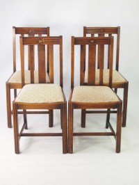 Set 4 Vintage Art Deco Oak Dining Chairs