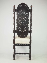 Tall Antique Victorian Gothic Oak Chair - Daniel Marot ...