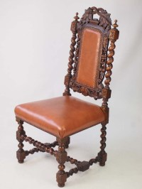 Antique Victorian Oak Gothic Revival Chair with Label