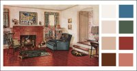 Traditional Living Room - 1920s earth tone color scheme ...