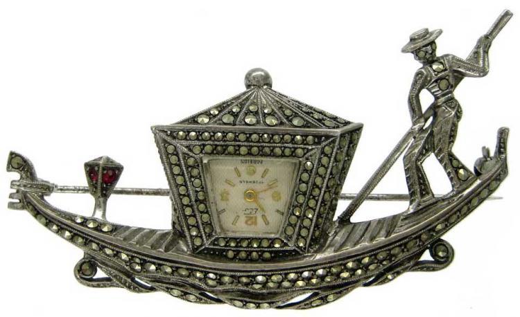 Marcasite Sterling Silver Gondola Brooch Watch The